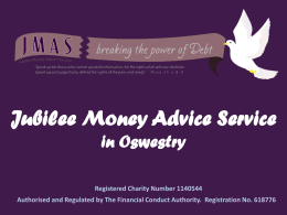 Jubilee Money Advice Service in Oswestry Registered Charity