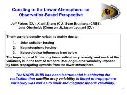 Jeff Forbes: Coupling to the Lower Atmosphere, an