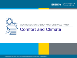 Comfort and Climate - Weatherization Assistance Program