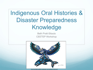 Indigenous Oral Histories & Disaster Preparedness
