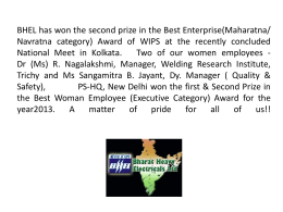 BHEL has won the second prize in the Best Enterprise