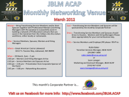 JBLM ACAP Monthly Networking Venue