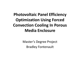 Photovoltaic Panel Efficiency Optimization Using Forced Convection