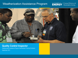 Introduction to Weatherization for Quality Control Inspectors