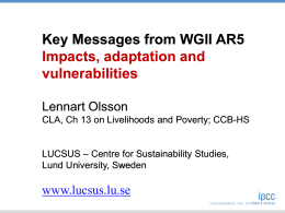 Key Messages from WGII AR5 Impacts, adaptation and