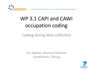 WP 3.1 CAPI and CAWI occupation coding, Eric Balster