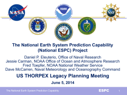 The National Earth System Prediction Capability (National ESPC