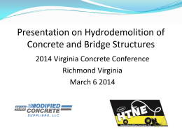 Modified Concrete Suppliers and HTNE Hydro Demolition