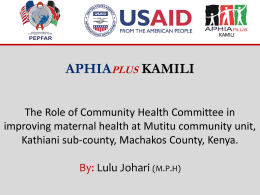 TUAB005 – The Role Of Community Health Committee (Chc)