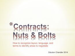 Contracts: Nuts & Bolts