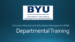 Department Records Management Training