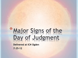 Major Signs of the Day of Judgment