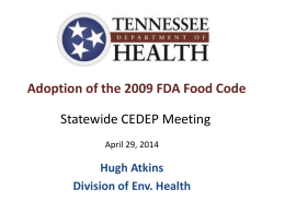 Food Code - Statewide CEDEP Meeting