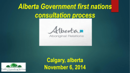 Proponent Guide Presentation - Alberta Aboriginal Relations