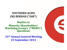 AGM 2014 - Replies to Written Queries