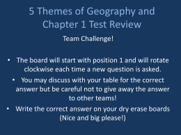 5 Themes of Geography and Chapter 1 Test Review