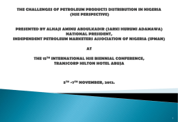IPMAN (HSE) Presentation - Oil & Gas HSE Conference