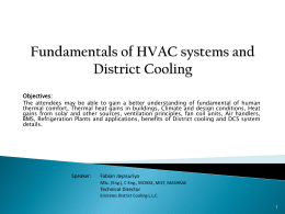 Fundamentals on HVAC systems and District