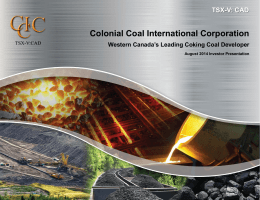 CCIC Investor Presentation - Colonial Coal International Corporation