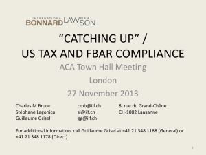 catching up* / us tax and fbar compliance
