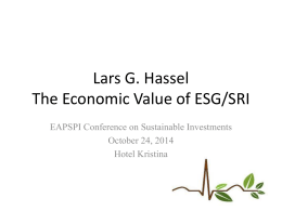 The Economic Value of ESG/SRI