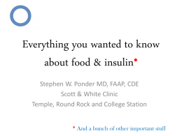 All about Food & Insulin