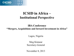 ICSID in Africa - IBA Lagos Conference 2013