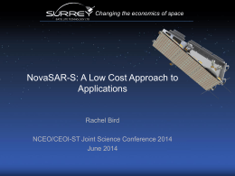 NovaSAR Mission and Applications - NCEO