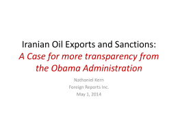 Iranian Oil Exports and Sanctions