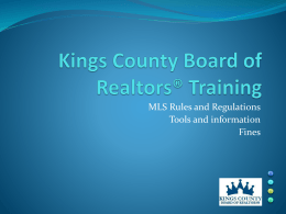 MLS Training - Kings County Board of Realtors