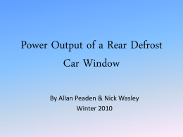 Power Output of a Rear Defrost Window
