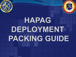 HAPAG DEPLOYMENT TO GO BAG - Health Services Officer Category