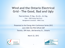 Wind and the Ontario Electrical Grid – The Good, Bad and Ugly