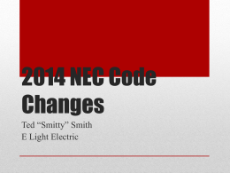 2014 NEC Code Changes - E Light Safety, Training and Leadership