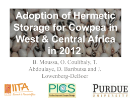 Adoption of Hermetic Storage for Cowpea by Farmers in West and