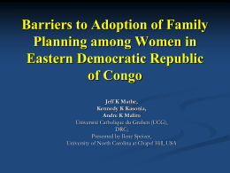 Barriers to Adoption of Family Planning among Women in Eastern