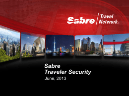 Sabre Traveler Security - Agency Presentation in English