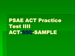 PSAE ACT Practice Science Test