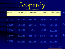 Heart and lung Jeopardy game