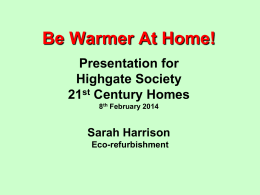 Be Warmer At Home! - The Highgate Society