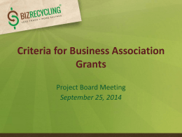 Criteria for Business Association Grants