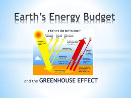 Earth`s Energy Budget