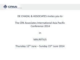 June 12-15, 2014 Mauritius Conference