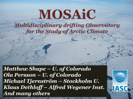 MOSAiC Overview Presentation at 2012 American Geophysical