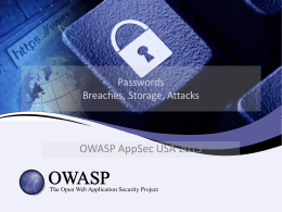 Password Breaches - OWASP Appsec USA 2013