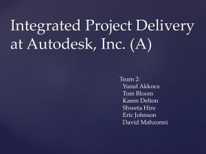 Integrated Project Delivery at Autodesk, Inc (A