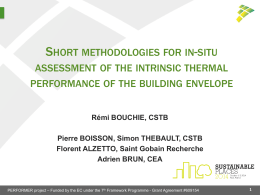 Short methodologies for in-situ assessment of the intrinsic thermal