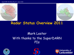 Radar Status Overview 2011