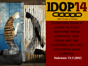 Remember those in prison as if you were their fellow prisoners, and