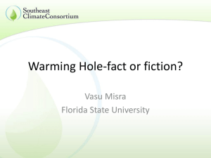 Warming hole—fact or fiction? - Southeast Climate Consortium